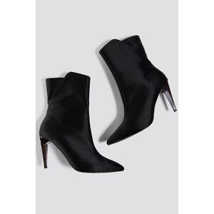 NA-KD Shoes Metallic Heel Satin Boots - Black