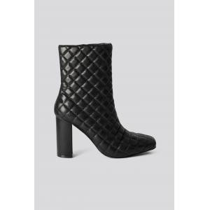 NA-KD Shoes Quilted Squared Toe Boots - Black