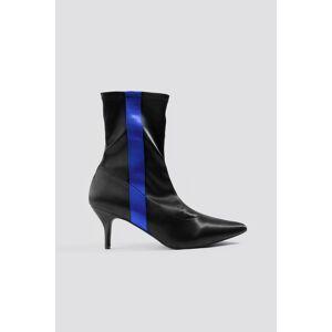 NA-KD Shoes Striped Satin Sock Boots - Black