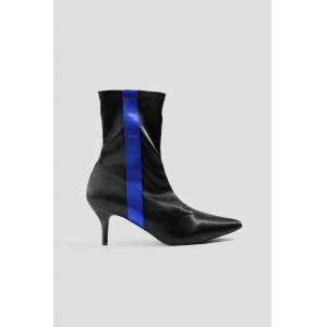 NA-KD Shoes Striped Satin Sock Boots - Black