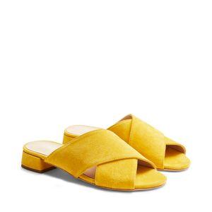 Rizzo Anna slip in-sandaletter i mocka, Gul, 37