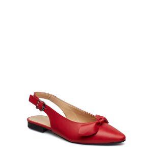 Bianco Biaberry Leather Bow Shoe Ballerinaskor Ballerinas Röd Bianco