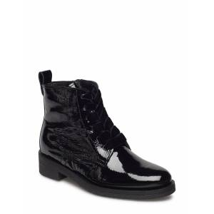 Bianco Biatine Patent Laced Up Boot Shoes Boots Ankle Boots Ankle Boots Flat Heel Svart Bianco