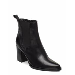 Bianco Biajudia Leather Boot Shoes Boots Ankle Boots Ankle Boots With Heel Svart Bianco
