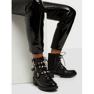 Bianco Pearl Biker Boot Flat Boots