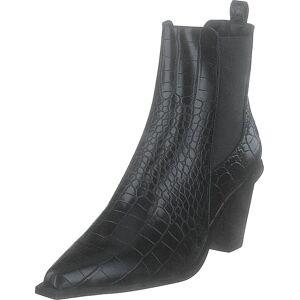 NA-KD Croc Pointy Block Heel Black, Skor, Stövlar och Stövletter, Stövlett, Svart, Dam, 41