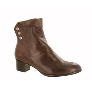 Riva Womens/damer nya knappar läder kängor Brown 5 UK