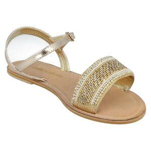 SPOTON Fläck på Womens/damer läder samling pärlstav sandaler Guld 7 UK