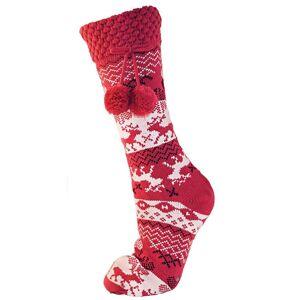 Universal Textiles Womens/damer Fairisle renar jul termisk toffel strumpor med gripdon