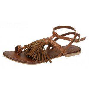 LEATHERCOLLECTION Läder samling Womens/damer platta Toe Loop sandal...