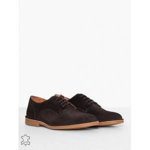 Selected Homme Slhroyce Derby Light Suede Shoe W Dressade skor Brun