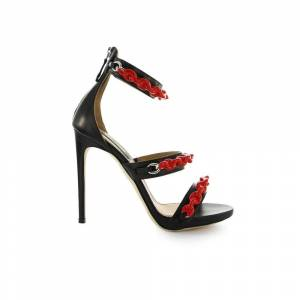Dsquared2 Punk Rubber Chain Black RED Sandal