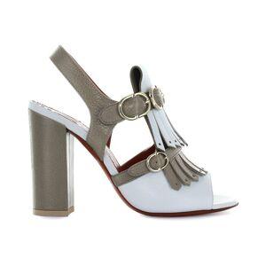 Santoni Bicolored Fringe Heeled Sandal