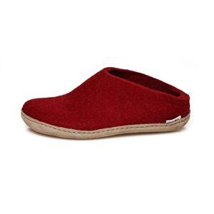 Glerups Open Heel Leather Sole Röd