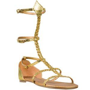 Guldfärgade Sandaler med Flätade Remmar