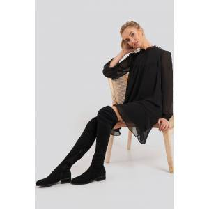 NA-KD Shoes Flat Overknee Boots - Black