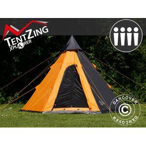 Dancover Campingtelt Festivaltelt Teepee, TentZing®, 4 personer, Orange/Mørkegrå