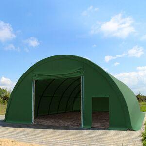TOOLPORT Rundbuehal 9,15x26m PVC 720 g/m2 mørkegrøn 100 % vandtæt Zelthalle, Industriezelt, Agrarzelt mørkegrøn