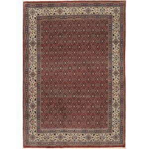 RugVista Ekte Teppe Moud Sherkat Farsh 201X292 Mørk Rød/Mørk Grå/Lysbrun (Ull/Silke, Persia/Iran)