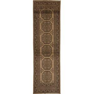 Håndknyttet. Opphav: Afghanistan Orientalsk Afghan Natural Teppe 84X294 Teppeløpere Mørk Brun/Lysbrun/Brun (Ull, Afghanistan)
