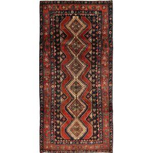 RugVista 145X302 Persisk Teppe Håndknyttet Orientalsk Ull Svart/Mørk Rød