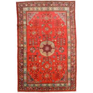 Håndknyttet. Opphav: China Samarkand Vintage Teppe 161X250 Rust/Orange (Ull, Kina)