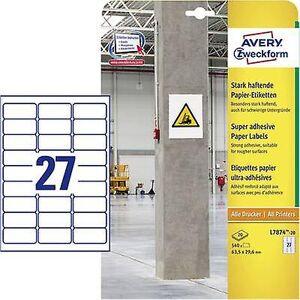 Avery Zweckform Avery-Zweckform L7874-20 Etiketter 63,5 x 29,6 mm Papir Hvit 540 pc(er) Permanent, Sterkt klebende Selvklebende etiketter (ekstra s...