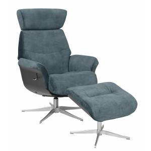 Marvik Hvilestol med skammel - petrol m. metall ben