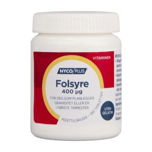 Nycoplus folsyre Tab 400 mikrog   Kosttilskudd