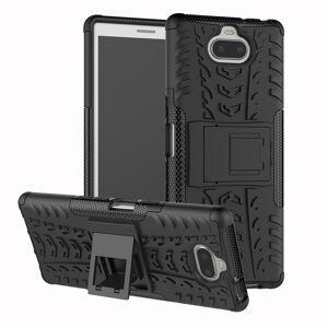 Sony Xperia 10 Håndverks Bakdeksel m. Stativ - Svart