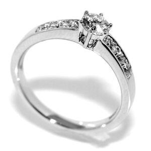Forlovelsesring i hvitt gull diamanter 0.32ct tw.si