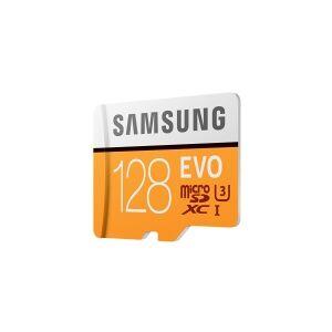 Samsung EVO MB-MP128HA - Flashhukommelseskort (microSDXC til SD adapter inkluderet) - 128 GB - UHS-I U3 / Class10 - microSDXC UHS-I