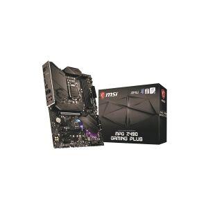 MSI MPG Z490 GAMING PLUS - Hovedkort - ATX - LGA1200-sokkel - Z490 - USB-C Gen2, USB-C Gen1, USB 3.2 Gen 1, USB 3.2 Gen 2 - 2.5 Gigabit LAN - innbygd grafikk (CPU kreves) - HD-lyd (8-kanalers)