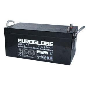 12V 260Ah AGM Batteri EUROGLOBE EG250-12 522x268x220mm
