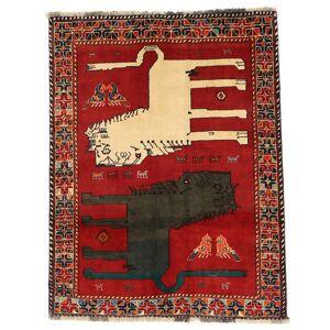 Handknuten. Ursprung: Persia / Iran Persisk Ghashghai Figural Matta 133X172 Roströd/Mörkgrå (Ull, Persien/Iran)