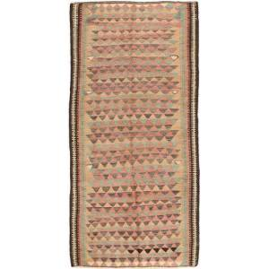 Handknuten. Ursprung: Persia / Iran Handvävd Matta Kelim Fars 130X285 Ljusbrun/Ljusrosa (Ull, Persien/Iran)