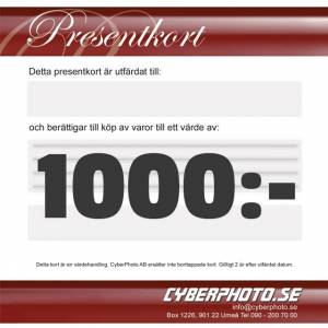 CyberPhoto Presentkort 1000kr