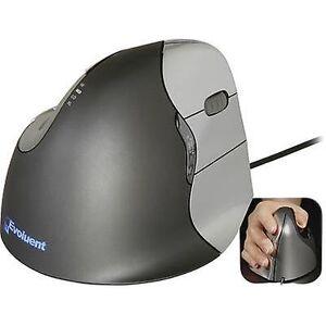 Evoluent vertikal mus 4 VM4R ergonomisk mus optisk ergonomisk svart, sølv