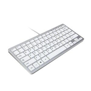 TRIXES Minimal slank Mini kablet USB tastatur sølv & hvit