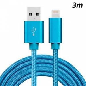 Apple Billig Nylon Lightning Cable Blue - 3 Meter