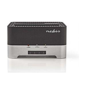 """Nedis Dokkingstasjon For Harddisk   USB 3.0   Dobbel Sata   2,5""""/3,5""""   Med Offl"""