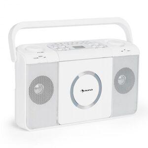 Auna Boomtown USB CD-Spelare FM Radio MP3 Bärbar Kofferradio Bergsprängare vit