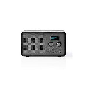 DAB Radio m/batteri (ur/alarm) Sort træ - Nedis