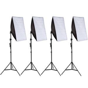 tectake 4x Studielys til digital og analog fotografering softbox med lampe model 1 - sort