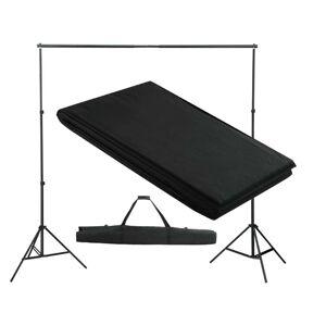 vidaXL Stativ och fotobakgrund 300 x 300 cm svart