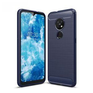 Puhelimenkuoret.fi Nokia 7.2 Suojakuori Hiilikuitu Sininen