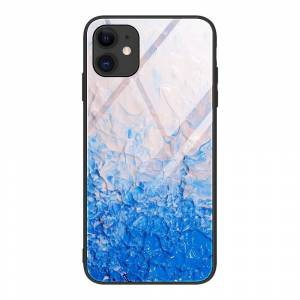 INCOVER Iphone 12 Mini Bakdeksel M. Glass Bak - Blå Og Hvit Maling