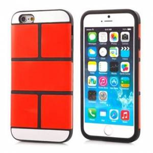 Apple Tegelplatta i fyrkantig silikon för iPhone 5 / 5S / SE - Röd orange