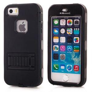 Apple Fancy färg plast och silikon täcka för iPhone 5 / 5S / SE - Svart