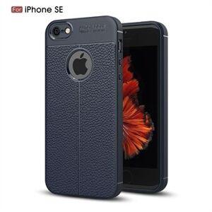 Apple Litchi Skin PU Läderbelagd TPU Mobiltelefonväska för iPhone SE / 5S / 5